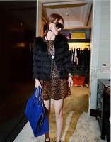 Fashion elegant faux 2014 tassel design black short outerwear female
