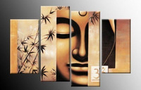 Details about 4P Large ART Buddha handpaint ART Canvas 100%  (no frame) OIL Painting