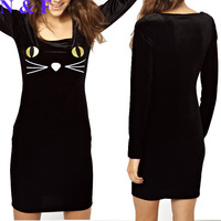 Free Shipping Fashion Women's Sexy Slim Solid Black  O-Neck Long Sleeve Lazy Oaf Feline Fine Velvet Bodycon Dress S M L