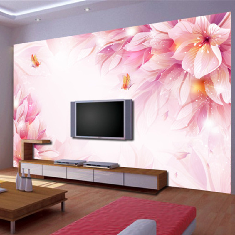 Custom 3d stereoscopic wallpaper swan room for the living room tv backdrop 3d wallpaper home - Flower wall designs for a bedroom ...