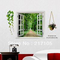 Free shipping fake windows mountain level wall stickers living room bedroom dining room removable decorative wall art stickers