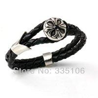 Free shipping! Chrome Cross Heart Leather Bracelet Stainless Steel Jewelry Punk Motor Men Bracelet SCB0003