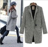 Casacos Femininos/fashion 2014 new European style women Winter jacket woolen Coat/Medium Long Overcoat/chaqueta mujer ropa/WOB