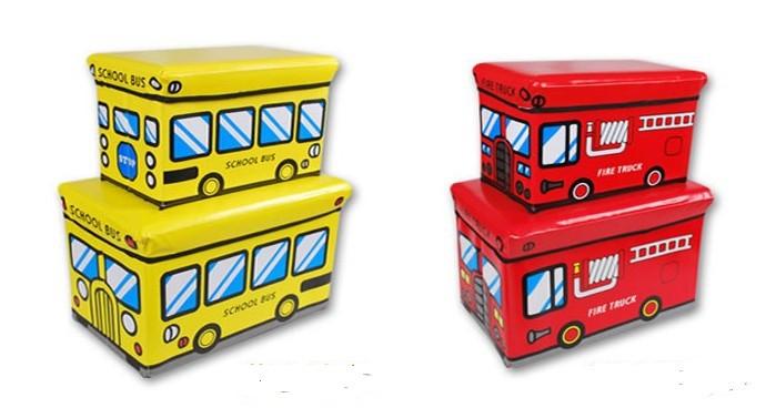 Free Shipping Multifunctional car storage stool toy storage stool storage box - - Large of love pink bus(China (Mainland))