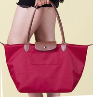 Nylon Women's Gnuine Leather Handbag Purses Folding Brand Handbags Shopping totes hand Bag shoulder bags wholesale+Free Shipping