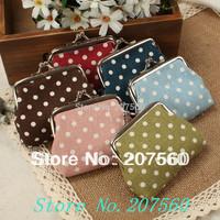 Free shipping! Wholesale:women small round dot zero wallet, women coin purse, mini purse, small purse (7.5 * 9 cm)