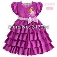 Free shipping 2014 New Arrival girl dresses,snow white dress,purple cake dress,children evening dresses,5pcs/lot wholesale