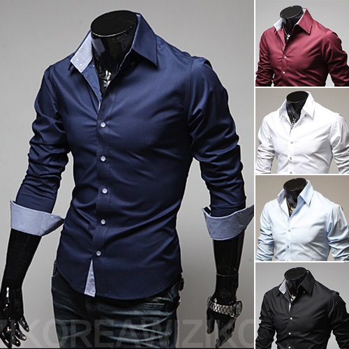2014 spring and autumn men's long-sleeved shirts turn down collar slim fit fashion 9022(China (Mainland))