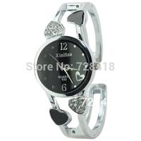 Brand New Exquisite Rhinestone Love Heart Casual Dress Gift Bracelet Women's Quartz Wrist Watch, Lady's Clock Free+Drop Shipping
