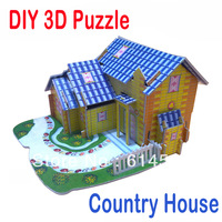 Hot Selling!! Country House Puzzles Kids Educational DIY Toys 3D Jigsaw Puzzle For Children Adults House Castle