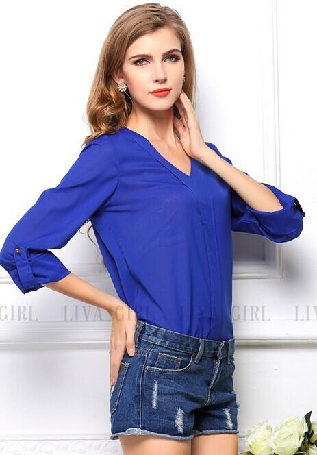 Синяя Шифоновая Блузка Доставка