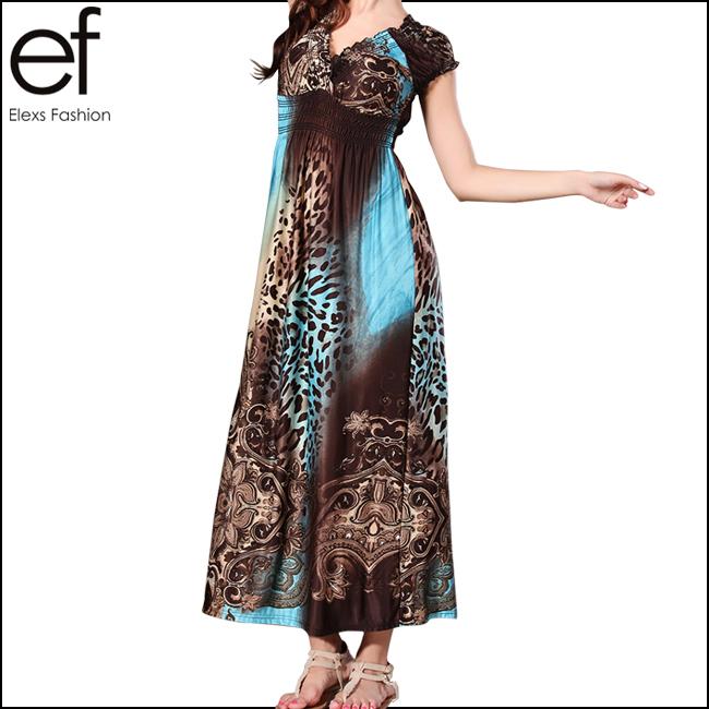New Arrival Bohemian Beach Dress High Waist V-neck Short-sleeve Maxi Dresses SP315(China (Mainland))