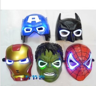avengers alliance Child luminous mask ,iron man ,spider-man.green gian,Captain,batman,kids toy . boy toys for festival party(China (Mainland))