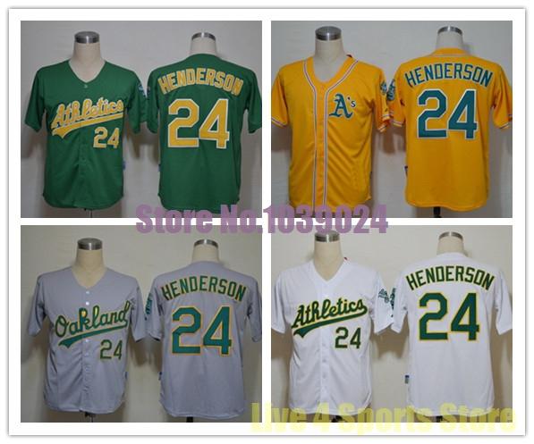 2014 NWT Oakland Athletics 24 Rickey Henderson Jersey White Green Yellow Grey Stitched Quality Cheap Baseball Jersey Wholesale(China (Mainland))