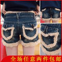 2013 308 winter all-match plush roll-up hem casual denim shorts boot cut jeans