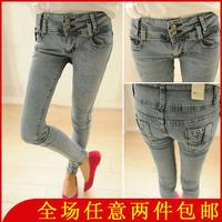 Trousers distrressed high waist skinny pants pencil pants female jeans 5083