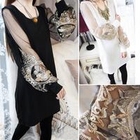 3059 princess knitted gauze embroidery lantern sleeve long-sleeve basic one-piece dress