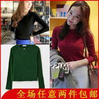 3643 2013 basic shirt ! solid color fashion slim all-match thread long-sleeve t