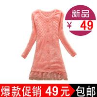2013 autumn shaggier sweater medium-long Women pullover sweater outerwear autumn lace female