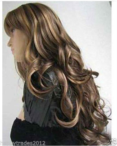 Details about Elegant long brown mixed curly hair wig(China (Mainland))