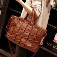 2014 Promotion Direct Selling Pocket Zipper Women's Handbag Vintage Knitted Bag Fashion Fence Messenger Autumn And Winter Large