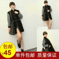 Fashion patchwork 2013 houndstooth woolen outerwear women's long cardigan wadded jacket