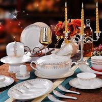 Quality ceramic dinnerware set 56 58 bone china gold bordered wedding gift