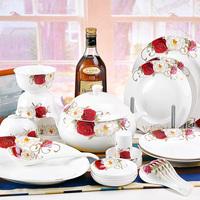 Quality high quality ceramic rose 56 tableware brief porcelain tableware gift set