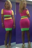 2014 New Arrival Fashion Bright Color Two Pieces Bandage Dress Novelty Women Dress S,M,L 5603