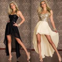 2014 New Fashion Dresses Black,Beige Asymmetrical Chiffon Dress Women Strapless Evening Dress 5598