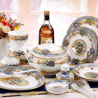 Quality 56 dinnerware set bone china bowls high quality colorful gift set elegant