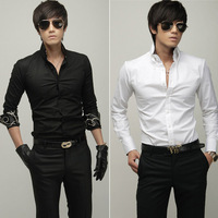 Free Shipping 2014 Brand New style Design Mens Shirts high quality Casual Slim Fit Stylish Shirts men