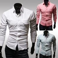 Free shiping 2014 New Hot-selling Dress Fashion Quality Long Sleeve Shirt Men unique pocket slim shirt fashion long-sleeve shirt