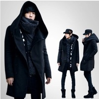 Men's clothing overcoat slim with a hood medium-long woolen trench outerwear male f602