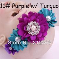 2014 item - Purple w/ Turquo Baby Girl Hair Band Infant Toddler Flower Headband Headwear, kids Hair Accessory