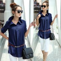 109 M - 4XL 2014 Fashion Plus Size Korean Women Woman Summer Loose Pullover Thin Chiffon Shirt Blouses camisas femininas