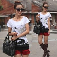 2094 XXXL XXXXL Plus Large Size 2014 Summer New Korean Fashion Women'S Loose Short-Sleeved Cotton Bottoming Butterfly T Shirt