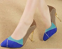 fashion blue red colors block sexy pointed toe pumps party shoes for woman new 2014 ladies thin women's high gold heels GD140338