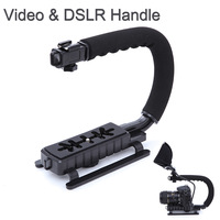 C Shape flash Bracket holder Video Handle Handheld Stabilizer Grip for DSLR SLR Camera Mini DV Camcorder