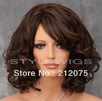 Dark Brown & Auburn Mix Medium Length Heat OK Loose Curls Curly Wig *Fashion women wigs*