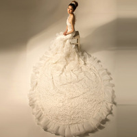 Dora 2013 pearl lace ruffle one shoulder fish tail luxury big train wedding dress dn5014