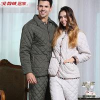 2014 autumn winter men's and women's sleepwear brand Italian style romantic couple warm pongee fabric quilted pajamas (one set)