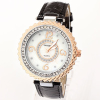 Leather Strap Watches 2014 New Brands Women Rhinestone Bracelet Gold Watch Numbers Famous Free Shipping