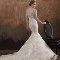 Dora 2013 new arrival noble elegant pearl vintage lace fish tail wedding dress dn5053