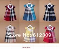 Baby Clothing baby girls dress dresses new fashion 2014 Summer kid's clothing british style plaid dress baby 100% cotton