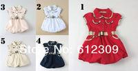 Retailing Brand New Baby Girls 100% Cotton Dress with Belt Children Grid Dress With Belt 2014 Summer Girl Design Dresses