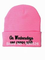 best quality on wednesdays we wear pink  beanies on wednesdays hats on wednesdays Caps   streetwear hat cap Fashion Beanie