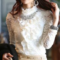 blusa de renda women 2013 autumn women's long-sleeve basic shirt lace shirt top chiffon shirt autumn and winter plus velvet