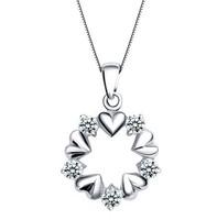 lady heart-shaped wreath necklace bridal pendant zircon AAA zircon necklace birthday wedding gift