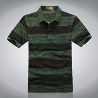 Camel 2013 100% summer cotton turn-down collar male short-sleeve t-shirt plus size wide stripe Men